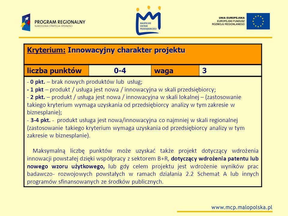 Innowacyjny charakter projektu Kryterium: Innowacyjny charakter projektu liczba punktów0-4waga3 - 0 pkt. – brak nowych produktów lub usług; - 1 pkt –