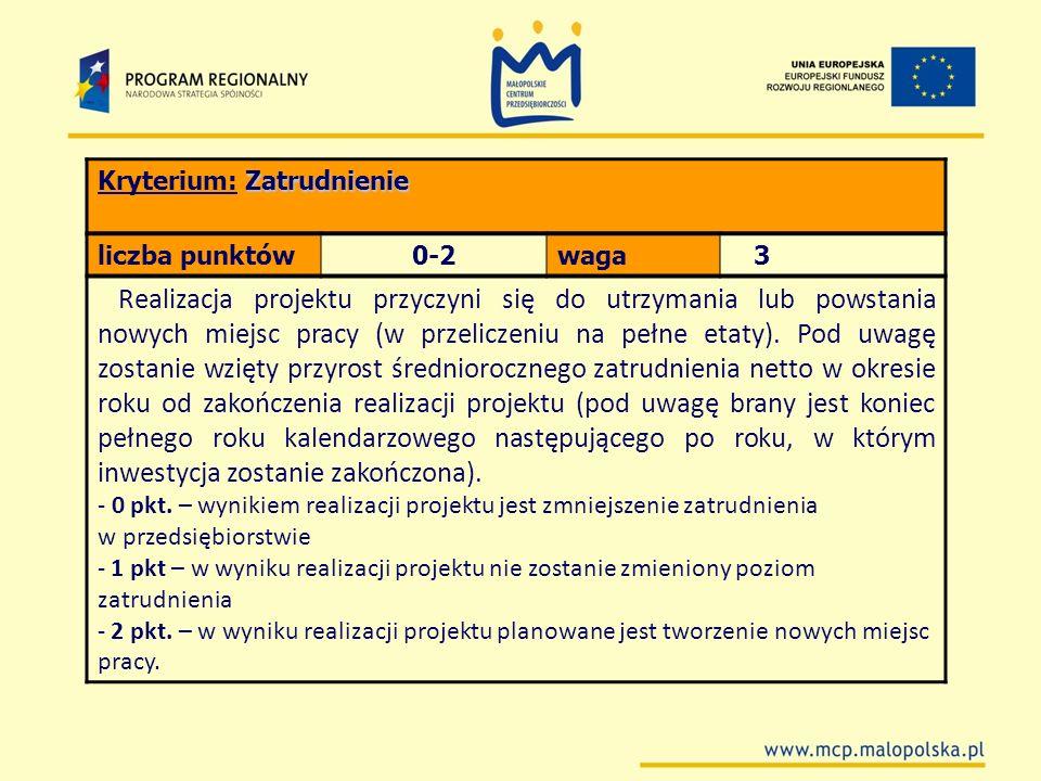 Zatrudnienie Kryterium: Zatrudnienie liczba punktów0-2waga 3 Realizacja projektu przyczyni się do utrzymania lub powstania nowych miejsc pracy (w prze