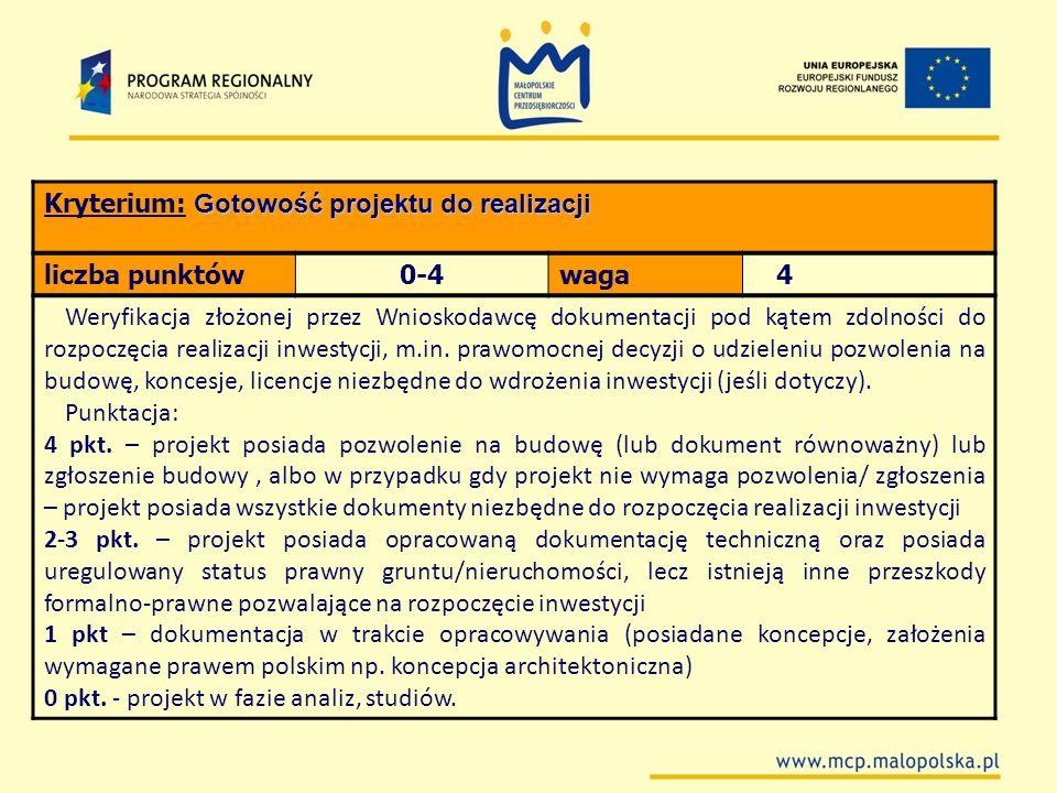 Gotowość projektu do realizacji Kryterium: Gotowość projektu do realizacji liczba punktów0-4waga 4 Weryfikacja złożonej przez Wnioskodawcę dokumentacj