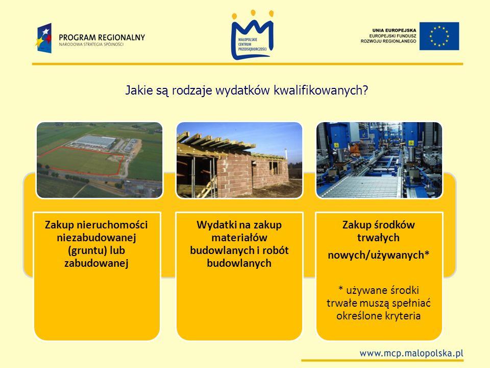 Zakup nieruchomości niezabudowanej (gruntu) lub zabudowanej Wydatki na zakup materiałów budowlanych i robót budowlanych Zakup środków trwałych nowych/