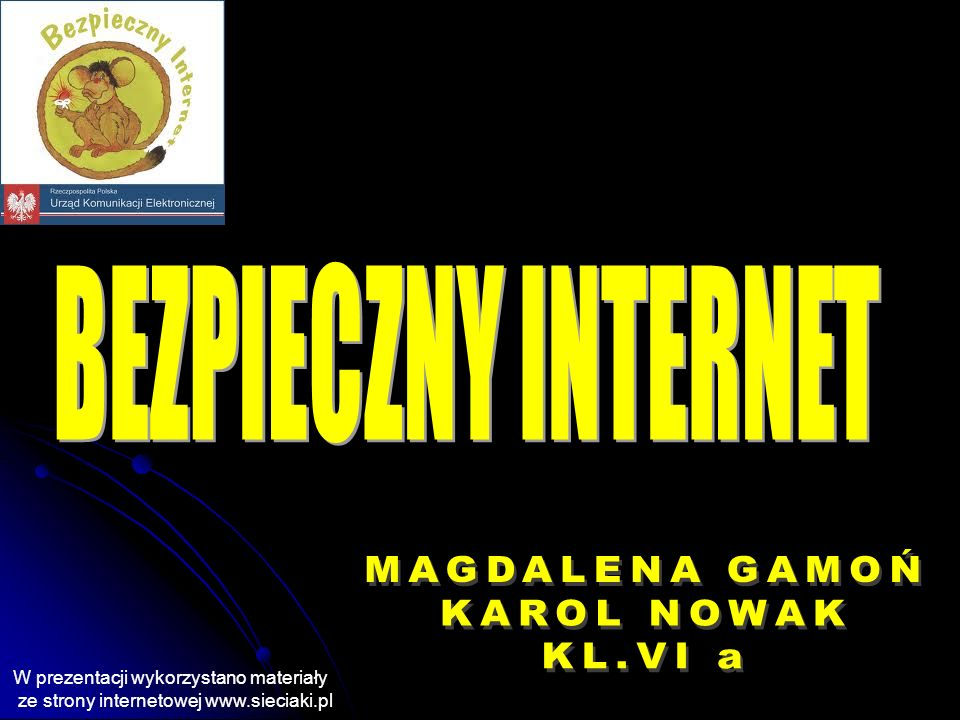 W prezentacji wykorzystano materiały ze strony internetowej www.sieciaki.pl