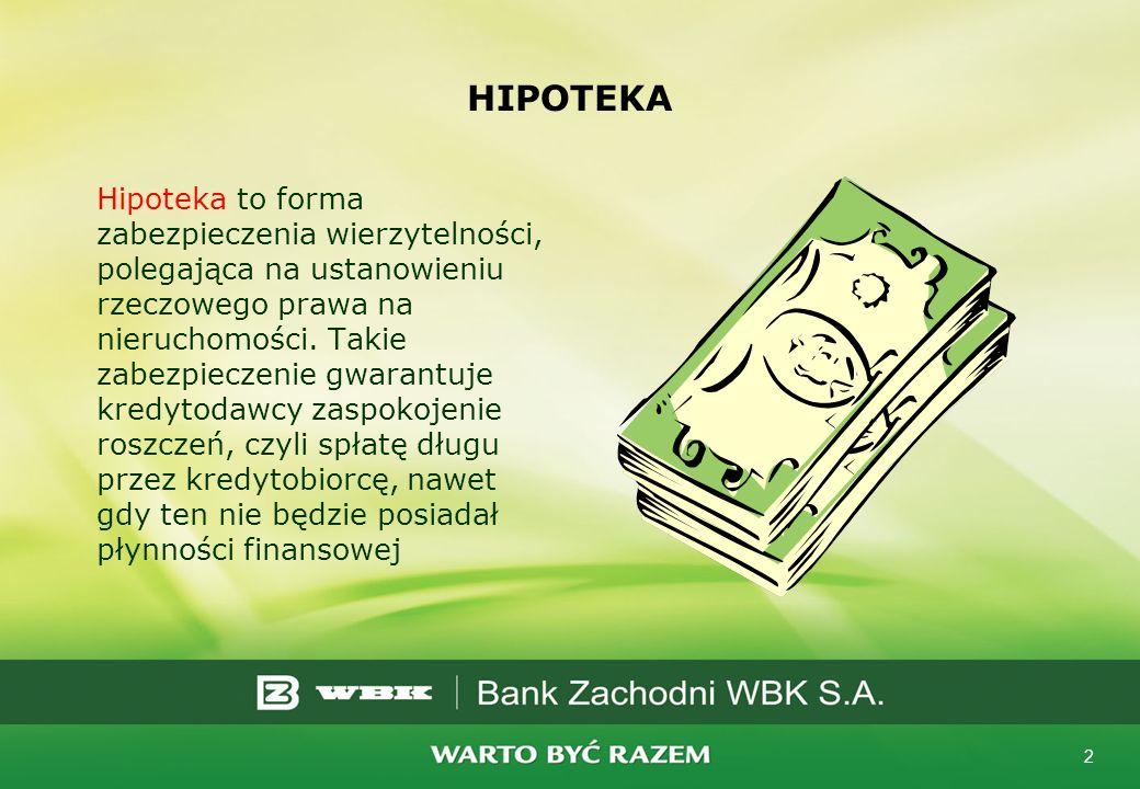 3 Przeznaczenie kredytu hipotecznego Czym charakteryzuje się kredyt hipoteczny: udzielany jest na długie lata banki żądają zabezpieczenia pewnego, które nie straci na wartości- jest nim hipoteka nabywanej nieruchomości W dziale IV Księgi Wieczystej nabywanej nieruchomości, wpis hipoteczny na rzecz banku będzie widniał do momentu całkowitej spłaty kredytu Kredytem zabezpieczonym na hipotece nieruchomości możemy sfinansować m.in.: zakup domu, mieszkania, lub zakup spółdzielczego własnościowego prawa do lokalu mieszkalnego, remont, modernizację, zakup działki budowlanej, spłatę innego kredytu zaciągniętego na cel mieszkaniowy, cel dowolny – pożyczka hipoteczna, kredyt konsolidacyjny