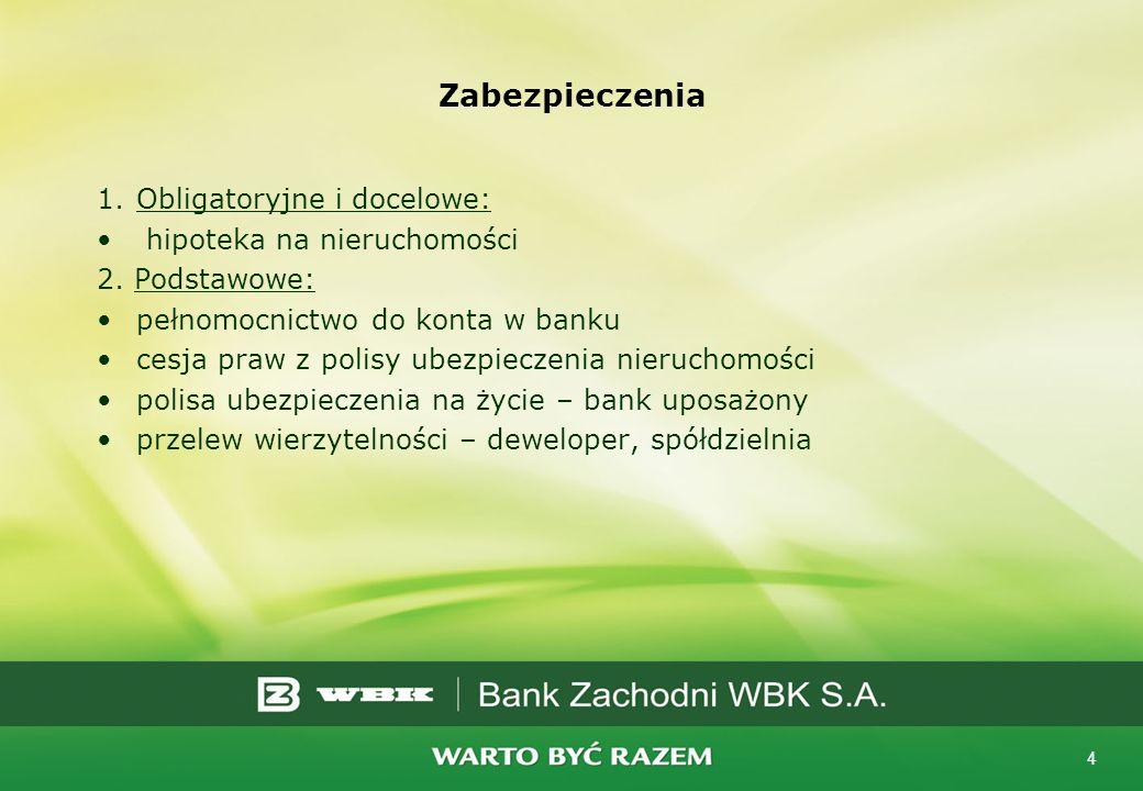 4 Zabezpieczenia 1.Obligatoryjne i docelowe: hipoteka na nieruchomości 2. Podstawowe: pełnomocnictwo do konta w banku cesja praw z polisy ubezpieczeni