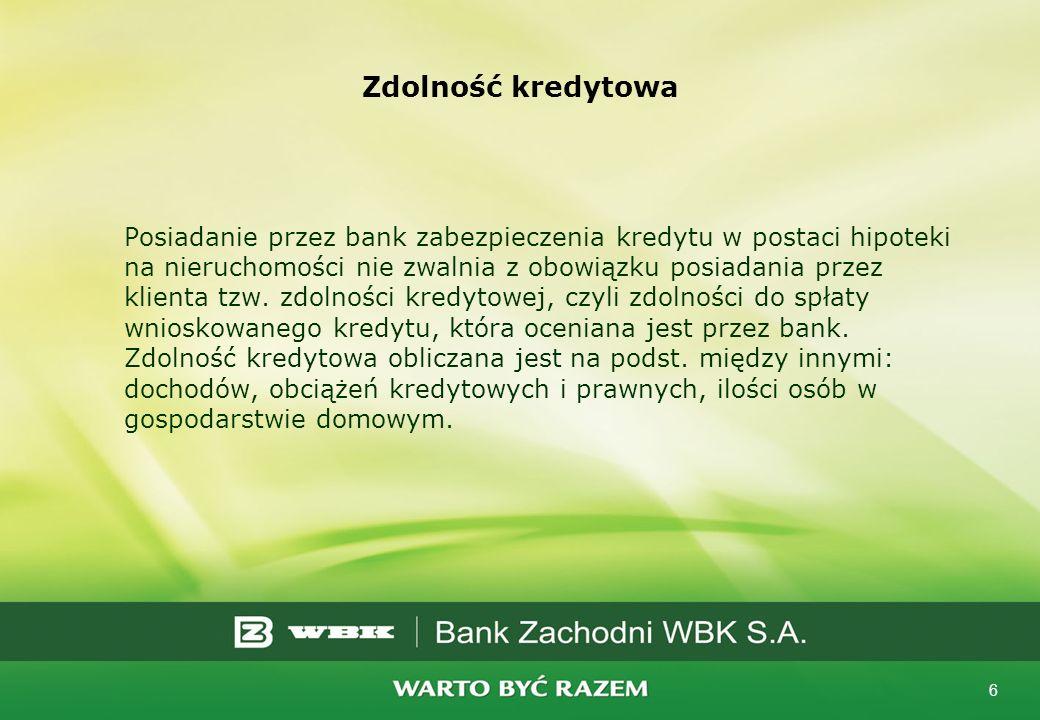 6 Zdolność kredytowa Posiadanie przez bank zabezpieczenia kredytu w postaci hipoteki na nieruchomości nie zwalnia z obowiązku posiadania przez klienta