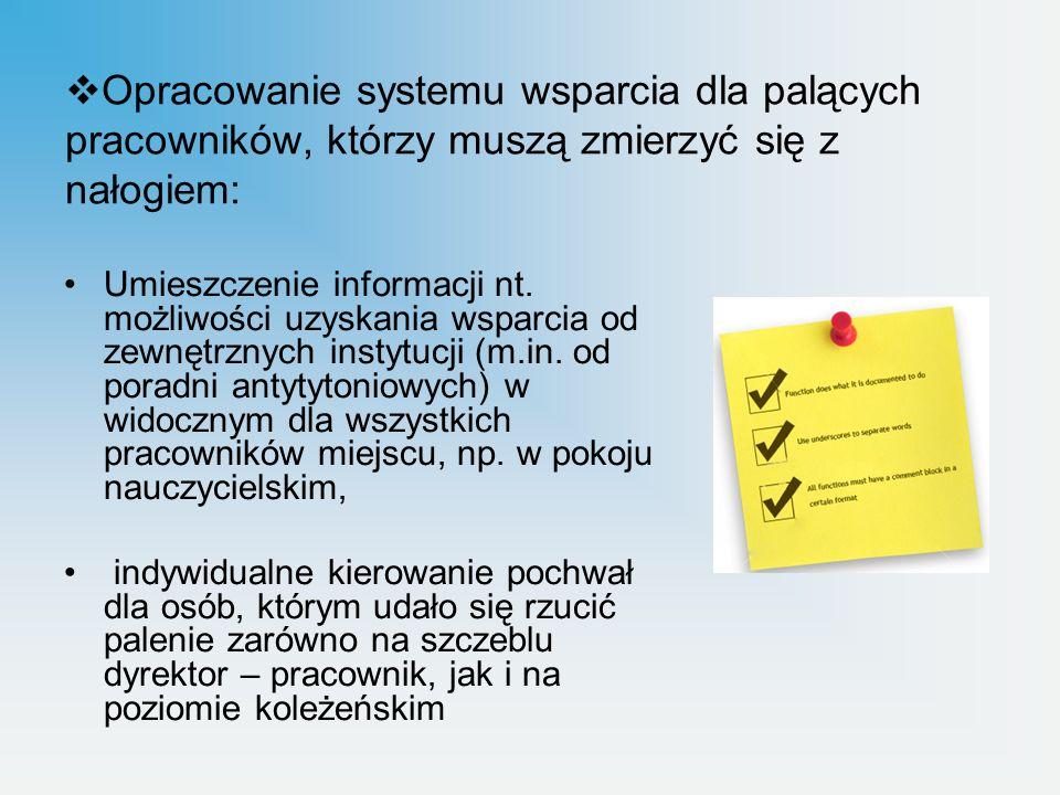 Opracowanie systemu wsparcia dla palących pracowników, którzy muszą zmierzyć się z nałogiem: Umieszczenie informacji nt. możliwości uzyskania wsparcia