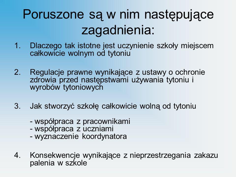 Poradnik wydano ze środków na realizację Programu Ograniczania Zdrowotnych Następstw Palenia Tytoniu w Polsce na rok 2012 przez Główny Inspektorat Sanitarny oraz Polskie Towarzystwo Programów Zdrowotnych.