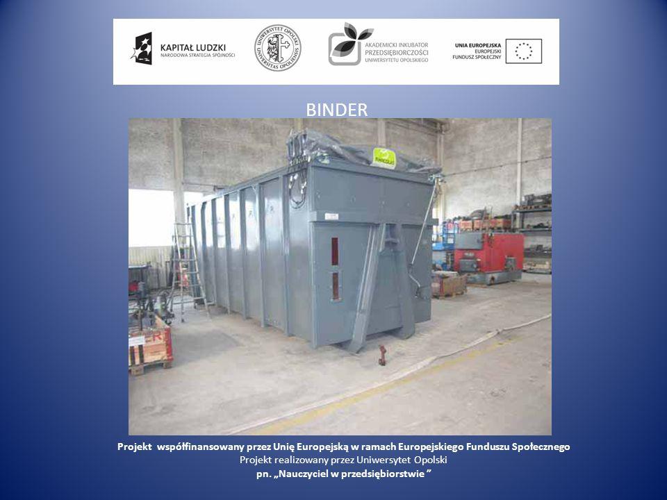 BINDER Projekt współfinansowany przez Unię Europejską w ramach Europejskiego Funduszu Społecznego Projekt realizowany przez Uniwersytet Opolski pn. Na
