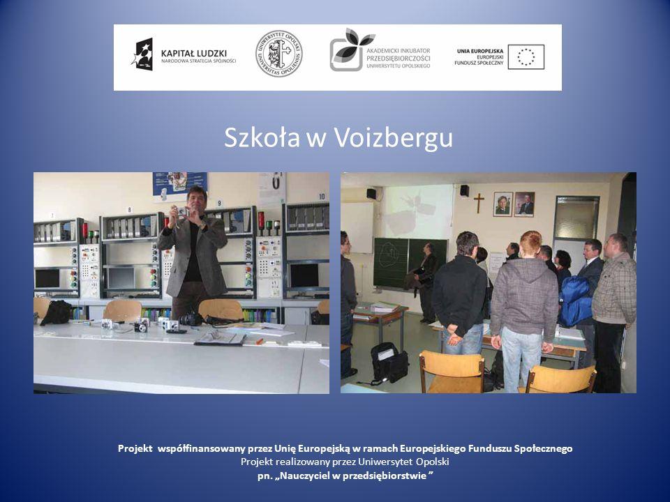 Szkoła w Voizbergu Projekt współfinansowany przez Unię Europejską w ramach Europejskiego Funduszu Społecznego Projekt realizowany przez Uniwersytet Op