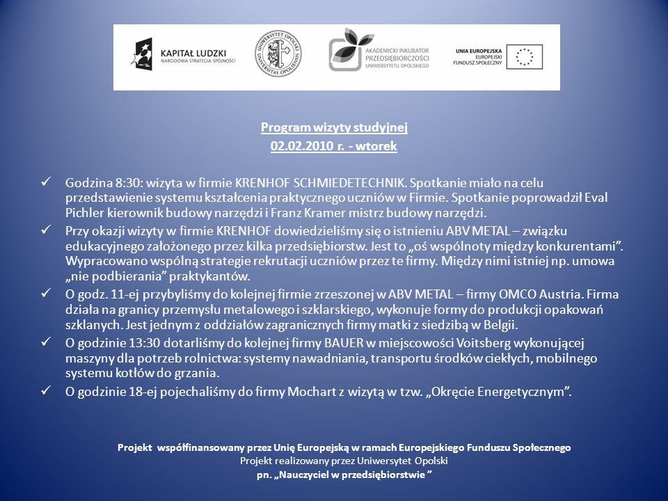 Program wizyty studyjnej 02.02.2010 r. - wtorek Godzina 8:30: wizyta w firmie KRENHOF SCHMIEDETECHNIK. Spotkanie miało na celu przedstawienie systemu