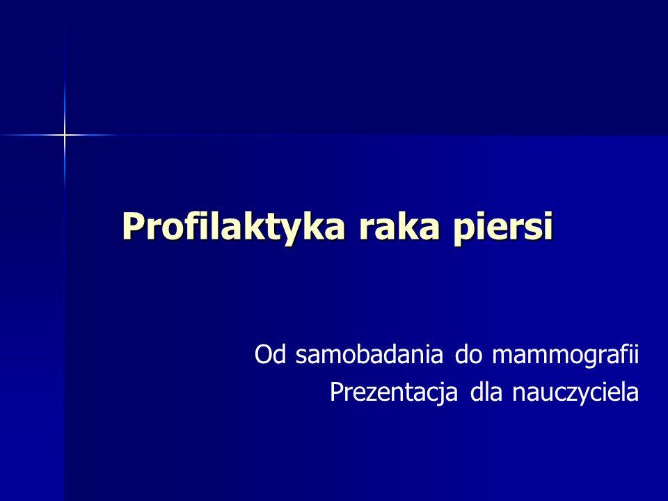 Profilaktyka raka piersi Od samobadania do mammografii Prezentacja dla nauczyciela