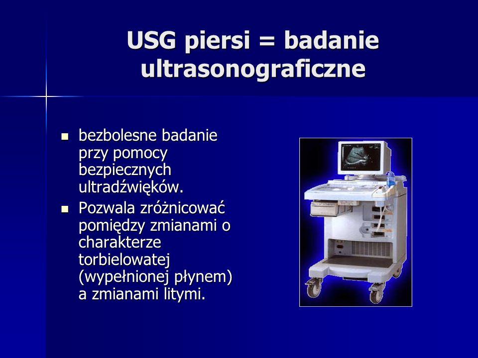 USG piersi = badanie ultrasonograficzne bezbolesne badanie przy pomocy bezpiecznych ultradźwięków. bezbolesne badanie przy pomocy bezpiecznych ultradź