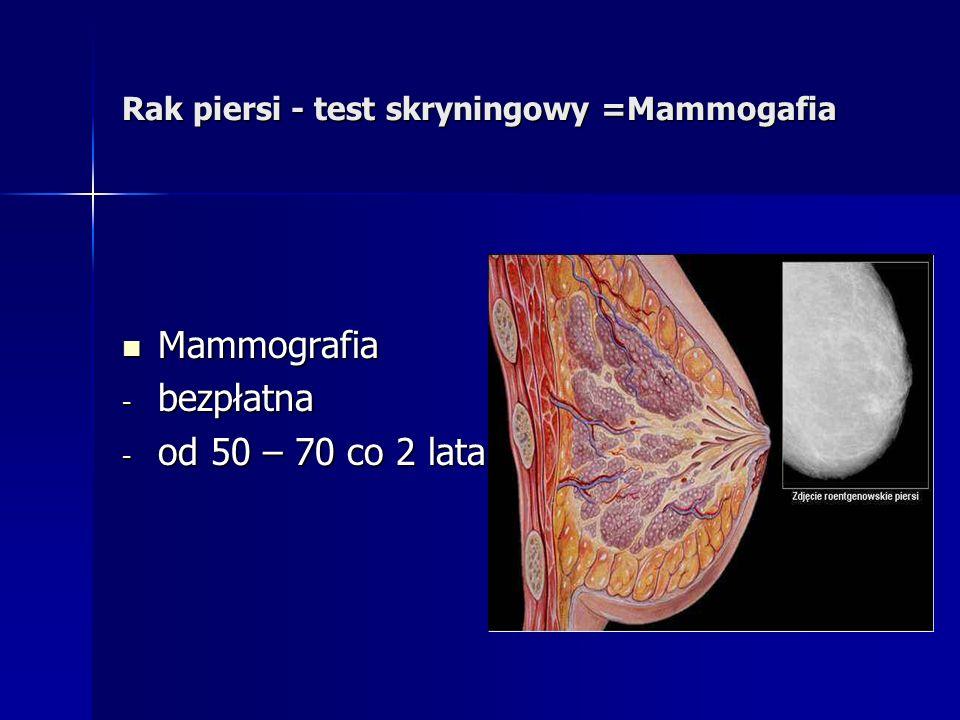 Rak piersi - test skryningowy =Mammogafia Mammografia Mammografia - bezpłatna - od 50 – 70 co 2 lata