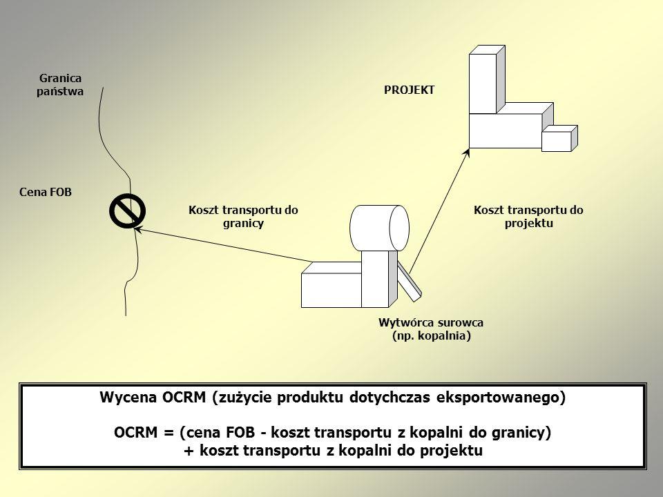 Wycena OCRM (zużycie produktu dotychczas eksportowanego) OCRM = (cena FOB - koszt transportu z kopalni do granicy) + koszt transportu z kopalni do pro