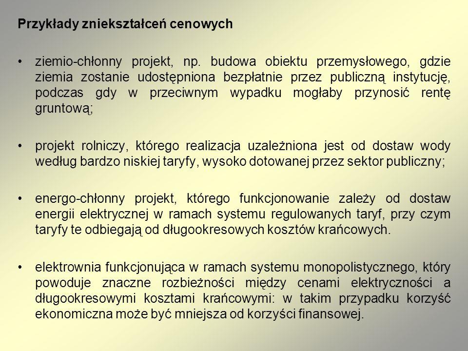 Przykłady zniekształceń cenowych ziemio-chłonny projekt, np. budowa obiektu przemysłowego, gdzie ziemia zostanie udostępniona bezpłatnie przez publicz