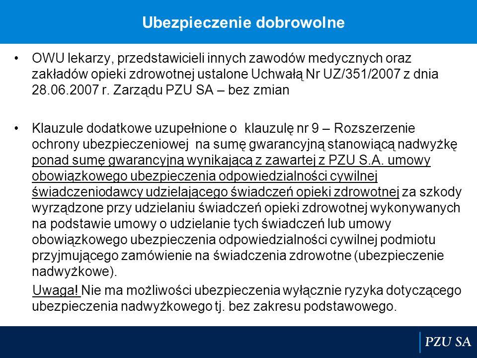 Ubezpieczenie dobrowolne OWU lekarzy, przedstawicieli innych zawodów medycznych oraz zakładów opieki zdrowotnej ustalone Uchwałą Nr UZ/351/2007 z dnia