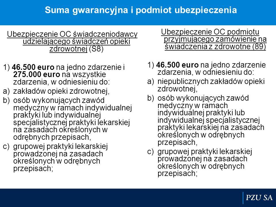 Suma gwarancyjna i podmiot ubezpieczenia Ubezpieczenie OC świadczeniodawcy udzielającego świadczeń opieki zdrowotnej (S8) 1) 46.500 euro na jedno zdar