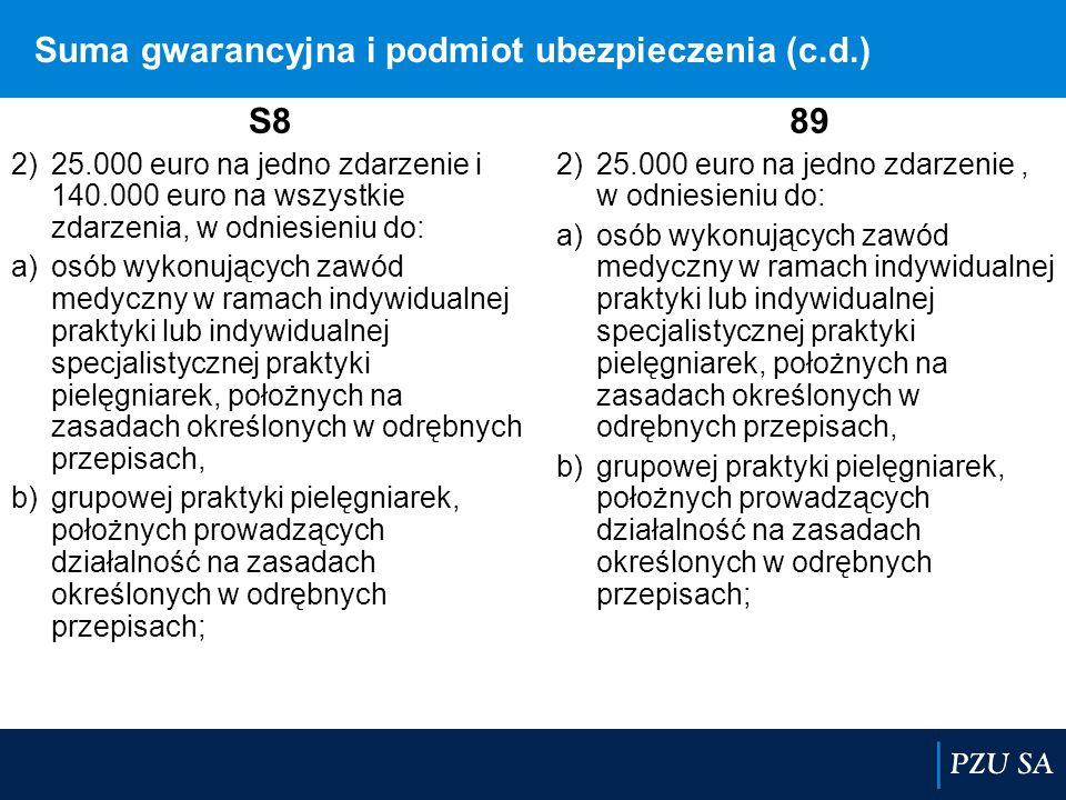 Suma gwarancyjna i podmiot ubezpieczenia (c.d.) S8 2)25.000 euro na jedno zdarzenie i 140.000 euro na wszystkie zdarzenia, w odniesieniu do: a)osób wy