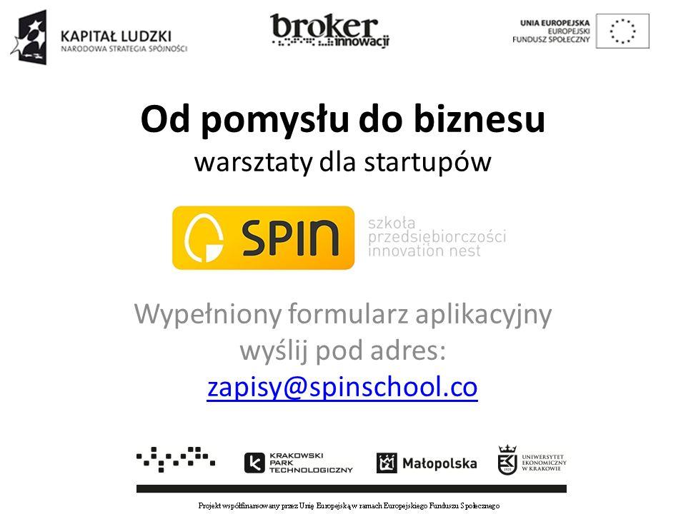 Od pomysłu do biznesu warsztaty dla startupów Wypełniony formularz aplikacyjny wyślij pod adres: zapisy@spinschool.co