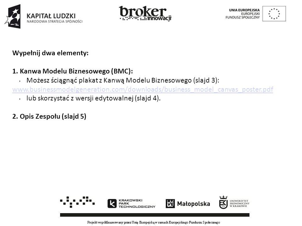 Wypełnij dwa elementy: 1. Kanwa Modelu Biznesowego (BMC): Możesz ściągnąć plakat z Kanwą Modelu Biznesowego (slajd 3): www.businessmodelgeneration.com