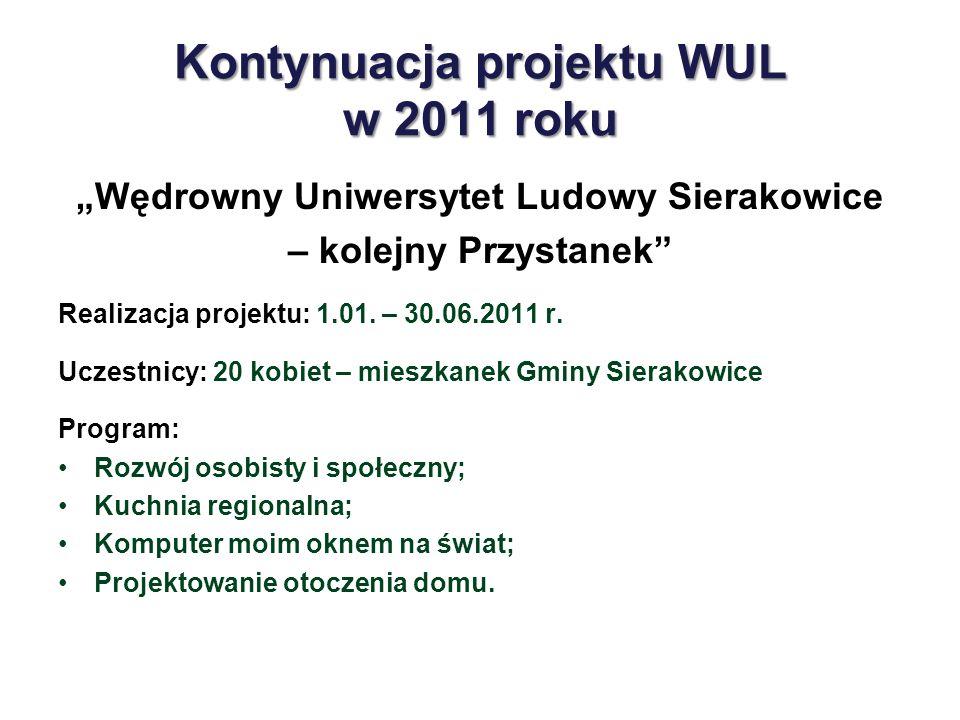 Kontynuacja projektu WUL w 2011 roku Wędrowny Uniwersytet Ludowy Sierakowice – kolejny Przystanek Realizacja projektu: 1.01. – 30.06.2011 r. Uczestnic