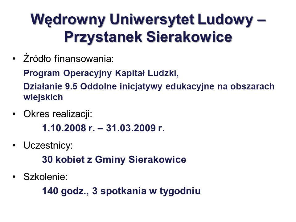 Wędrowny Uniwersytet Ludowy – Przystanek Sierakowice Źródło finansowania: Program Operacyjny Kapitał Ludzki, Działanie 9.5 Oddolne inicjatywy edukacyj