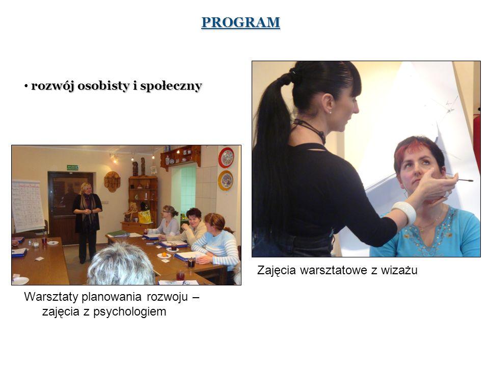 PROGRAM rozwój osobisty i społeczny Zajęcia warsztatowe z wizażu Warsztaty planowania rozwoju – zajęcia z psychologiem