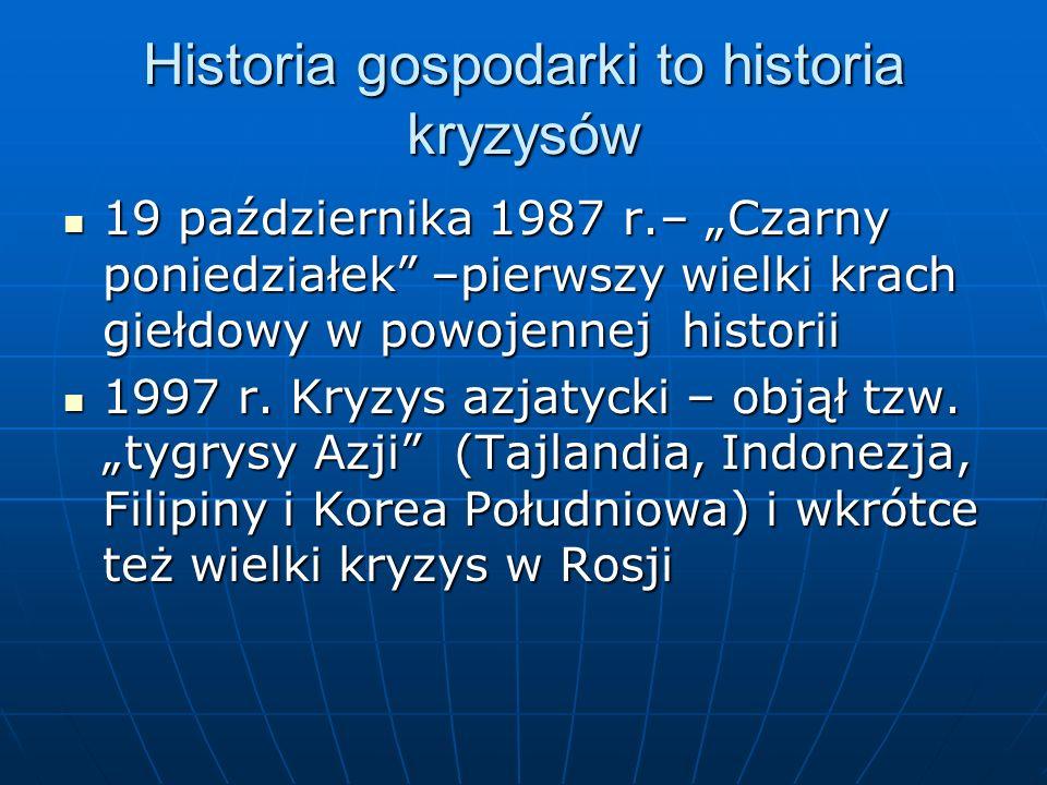 Historia gospodarki to historia kryzysów 19 października 1987 r.– Czarny poniedziałek –pierwszy wielki krach giełdowy w powojennej historii 19 paździe