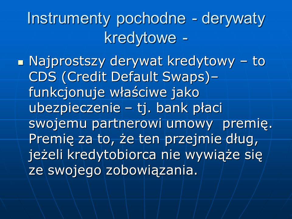 Instrumenty pochodne - derywaty kredytowe - Najprostszy derywat kredytowy – to CDS (Credit Default Swaps)– funkcjonuje właściwe jako ubezpieczenie – t