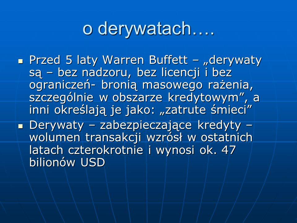 o derywatach…. Przed 5 laty Warren Buffett – derywaty są – bez nadzoru, bez licencji i bez ograniczeń- bronią masowego rażenia, szczególnie w obszarze