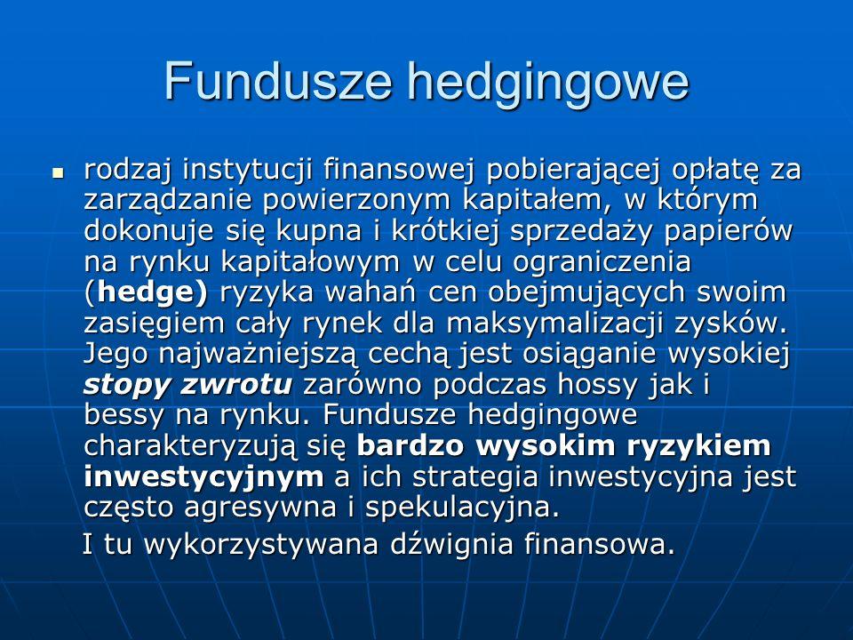 Fundusze hedgingowe rodzaj instytucji finansowej pobierającej opłatę za zarządzanie powierzonym kapitałem, w którym dokonuje się kupna i krótkiej sprz