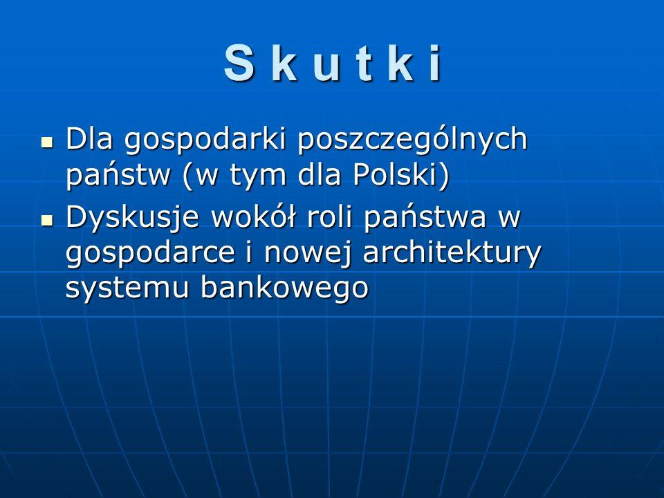 S k u t k i Dla gospodarki poszczególnych państw (w tym dla Polski) Dla gospodarki poszczególnych państw (w tym dla Polski) Dyskusje wokół roli państw