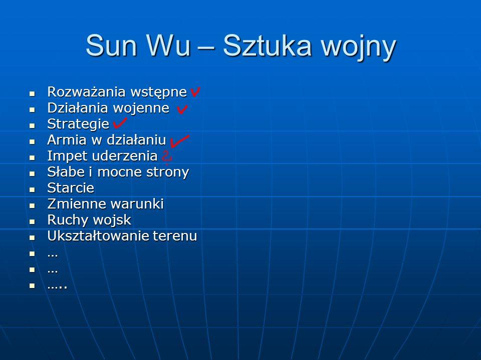 Sun Wu – Sztuka wojny Rozważania wstępne Rozważania wstępne Działania wojenne Działania wojenne Strategie Strategie Armia w działaniu Armia w działani