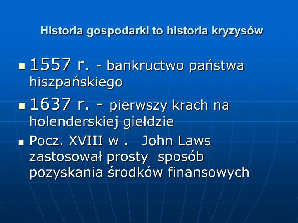 Historia gospodarki to historia kryzysów Historia gospodarki to historia kryzysów 1557 r. - bankructwo państwa hiszpańskiego 1557 r. - bankructwo pańs