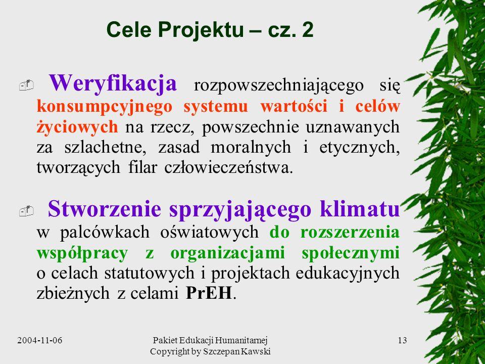 2004-11-06Pakiet Edukacji Humanitarnej Copyright by Szczepan Kawski 13 Cele Projektu – cz. 2 Weryfikacja rozpowszechniającego się konsumpcyjnego syste