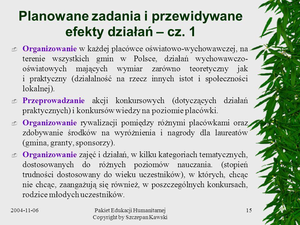 2004-11-06Pakiet Edukacji Humanitarnej Copyright by Szczepan Kawski 15 Planowane zadania i przewidywane efekty działań – cz. 1 Organizowanie w każdej