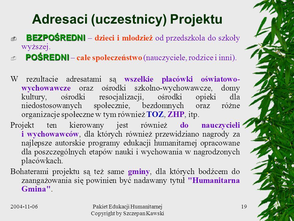 2004-11-06Pakiet Edukacji Humanitarnej Copyright by Szczepan Kawski 19 Adresaci (uczestnicy) Projektu BEZPOŚREDNI BEZPOŚREDNI – dzieci i młodzież od p