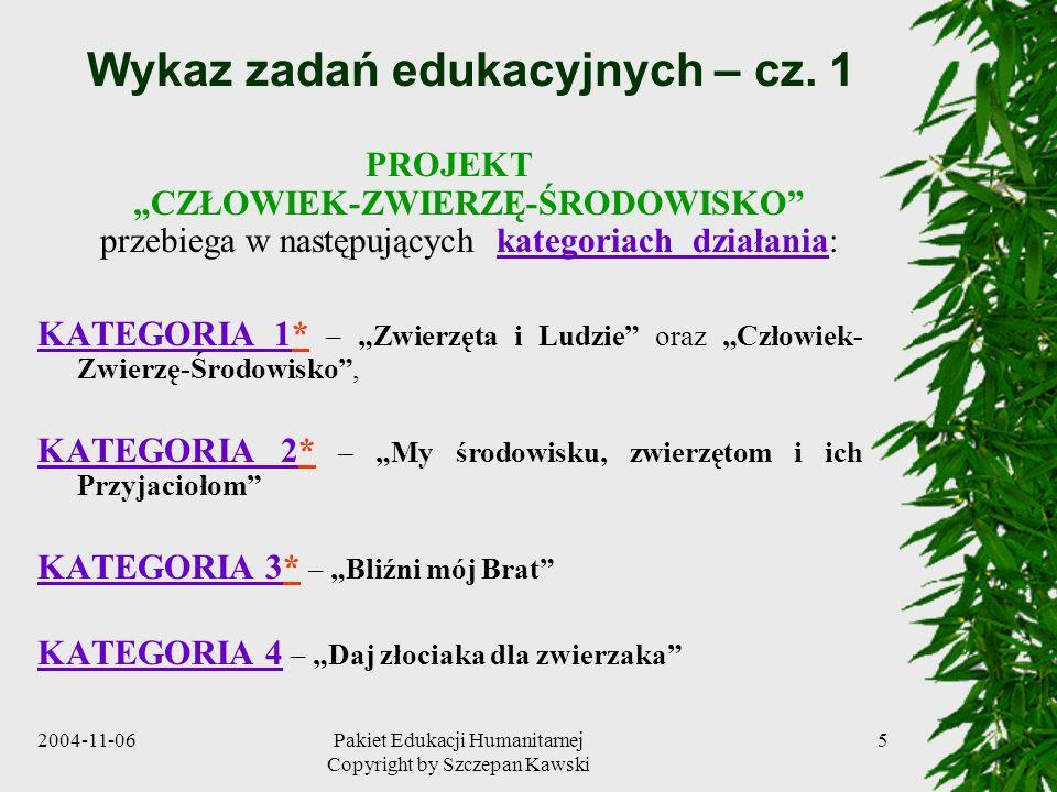 2004-11-06Pakiet Edukacji Humanitarnej Copyright by Szczepan Kawski 5 Wykaz zadań edukacyjnych – cz. 1 PROJEKT CZŁOWIEK-ZWIERZĘ-ŚRODOWISKO przebiega w