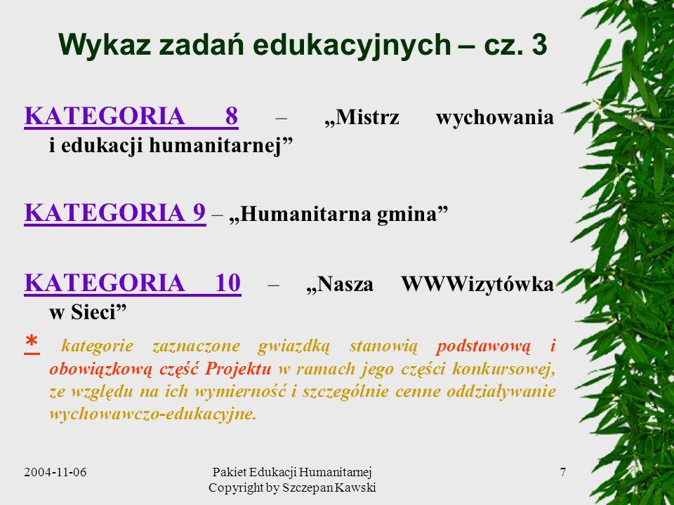 2004-11-06Pakiet Edukacji Humanitarnej Copyright by Szczepan Kawski 8 Warunki konieczne sukcesu Powszechność działań wychowawczo-edukacyjnych i objęcie nimi całej młodzieży oraz wszystkich dorosłych daje pewność osiągnięcia sukcesu w krótkim czasie, co jest niezwykle pożądane z punktu widzenia dobra społecznego i celów PrEH.