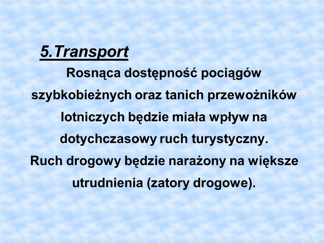 5.Transport Rosnąca dostępność pociągów szybkobieżnych oraz tanich przewożników lotniczych będzie miała wpływ na dotychczasowy ruch turystyczny. Ruch