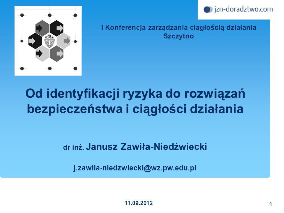 2013-11-0952 Dokumentowanie w ramach zarządzania ryzykiem Sprzężenie zwrotne Analiza ryzyka Identyfikacja ryzyka Ocena ryzyka PlanowanieManipulowanie ryzykiem Monitorowanie ryzyka Janusz Zawiła-Niedźwiecki Zarządzanie ryzykiem