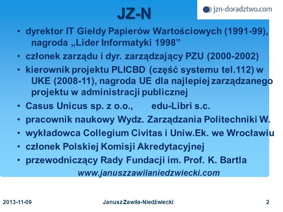 2013-11-093 I Konferencja zarządzania ciągłością działania Nauka jest najciekawsza tam, gdzie się kończy Leibnitz Ryzyko – bezpieczeństwo – ciągłość działania Janusz Zawiła-Niedźwiecki