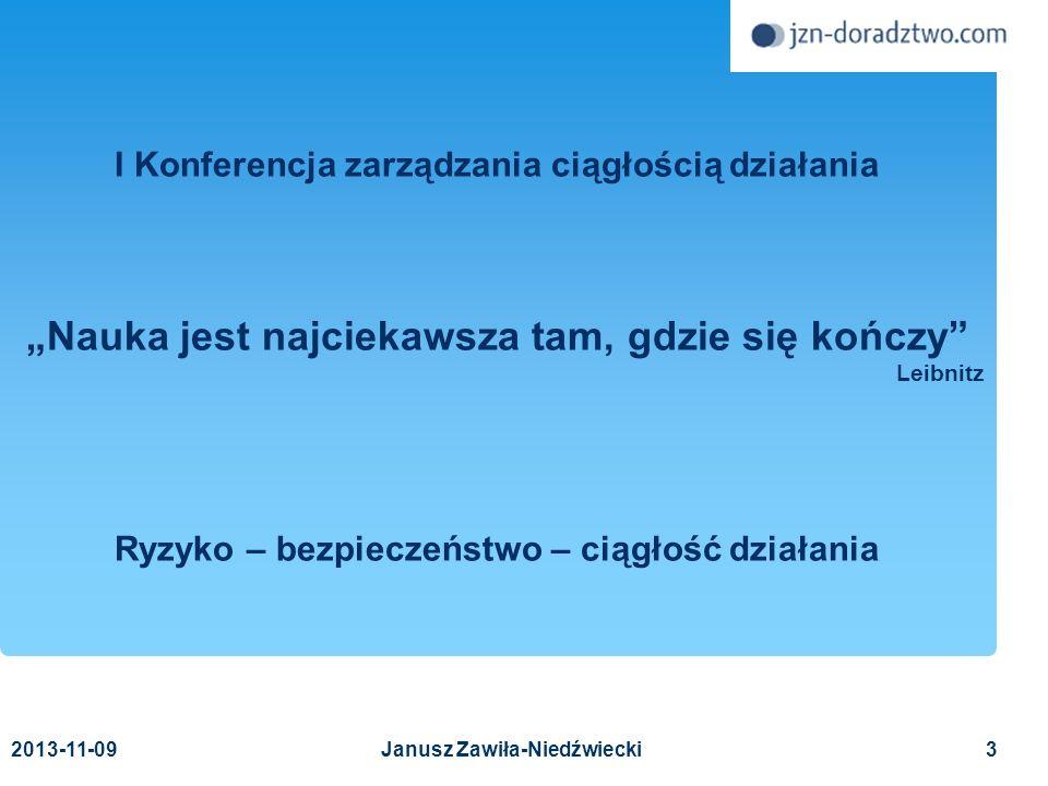 2013-11-0964 Wzorcowa lista zagrożeń Wzorcowa lista zagrożeń (7) Zakłócenia informatyczne (oprogramowanie) wygaśnięcie licencji nieautoryzowane usunięcie wadliwe działanie inne Zakłócenia informatyczne (wirusy) Copyright © 2011 Janusz Zawiła-Niedźwiecki