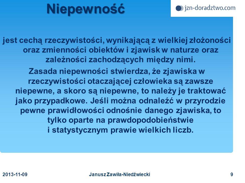 20 Analiza wpływu ryzyka na działalność procesy podatności zagrożenia Janusz Zawiła-Niedźwiecki 2013-11-09