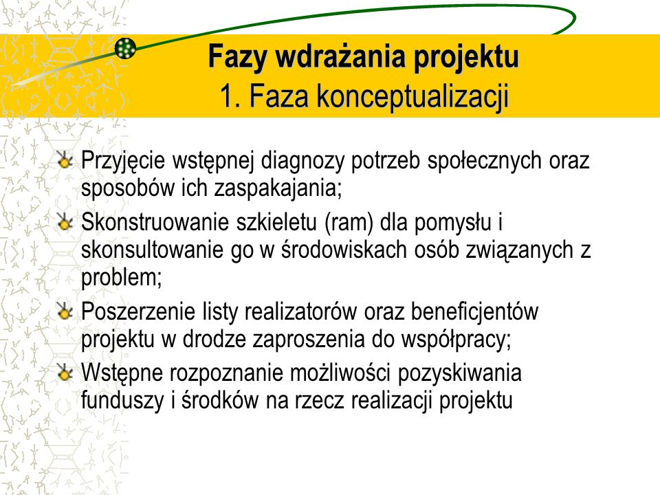 Fazy wdrażania projektu 1. Faza konceptualizacji Przyjęcie wstępnej diagnozy potrzeb społecznych oraz sposobów ich zaspakajania; Skonstruowanie szkiel