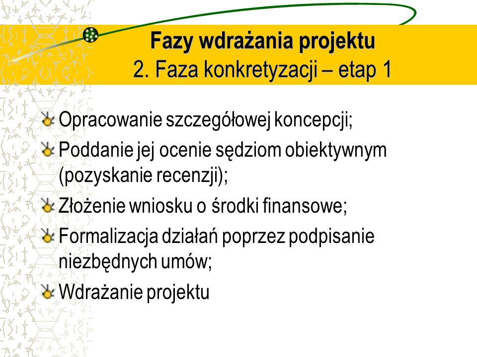 Fazy wdrażania projektu 2. Faza konkretyzacji – etap 1 Opracowanie szczegółowej koncepcji; Poddanie jej ocenie sędziom obiektywnym (pozyskanie recenzj