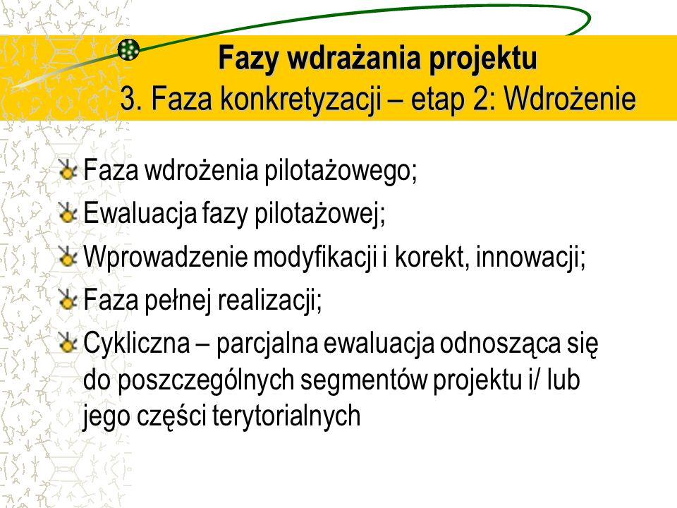 Fazy wdrażania projektu 3. Faza konkretyzacji – etap 2: Wdrożenie Faza wdrożenia pilotażowego; Ewaluacja fazy pilotażowej; Wprowadzenie modyfikacji i