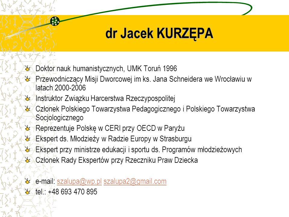 Doktor nauk humanistycznych, UMK Toruń 1996 Przewodniczący Misji Dworcowej im ks. Jana Schneidera we Wrocławiu w latach 2000-2006 Instruktor Związku H