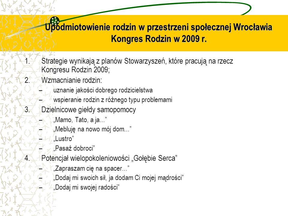 Upodmiotowienie rodzin w przestrzeni społecznej Wrocławia Kongres Rodzin w 2009 r. 1.Strategie wynikają z planów Stowarzyszeń, które pracują na rzecz