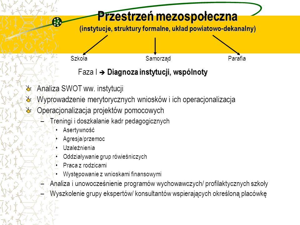 Przestrzeń mezospołeczna (instytucje, struktury formalne, układ powiatowo-dekanalny) Analiza SWOT ww. instytucji Wyprowadzenie merytorycznych wniosków
