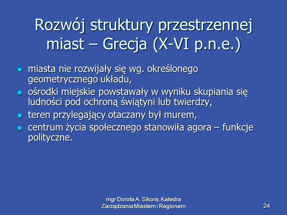 mgr Dorota A. Sikora, Katedra Zarządzania Miastem i Regionem24 Rozwój struktury przestrzennej miast – Grecja (X-VI p.n.e.) miasta nie rozwijały się wg
